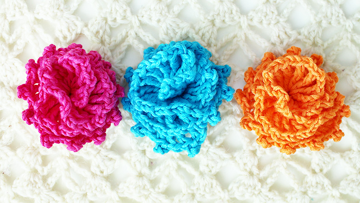 Crochet flower pattern, chart and video