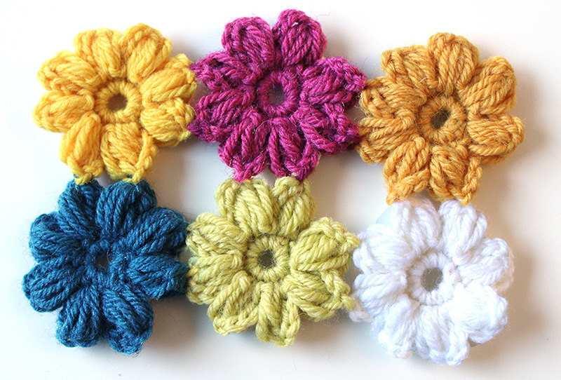 8-petal crochet flowers pattern