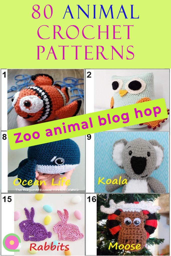 Pinnable image of 80 animal crochet patterns