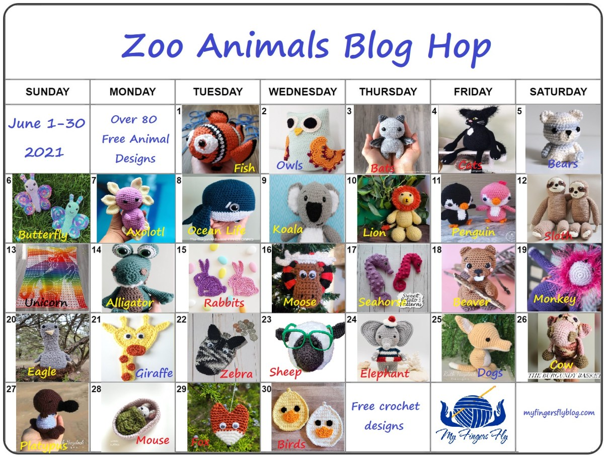 photo calendar of all animal crochet patterns available in June