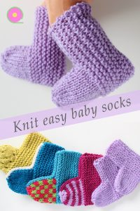 Pinterest image for knitted baby socks