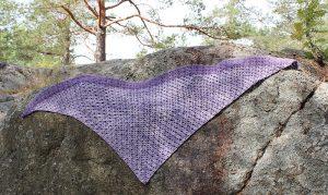 Corner to corner crochet shawl in forest