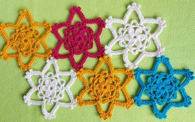 Easy crochet flower star motif