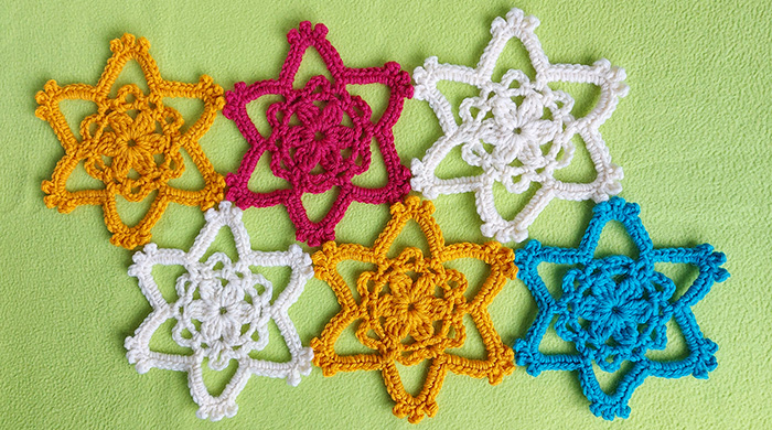 Easy crochet flower star motif