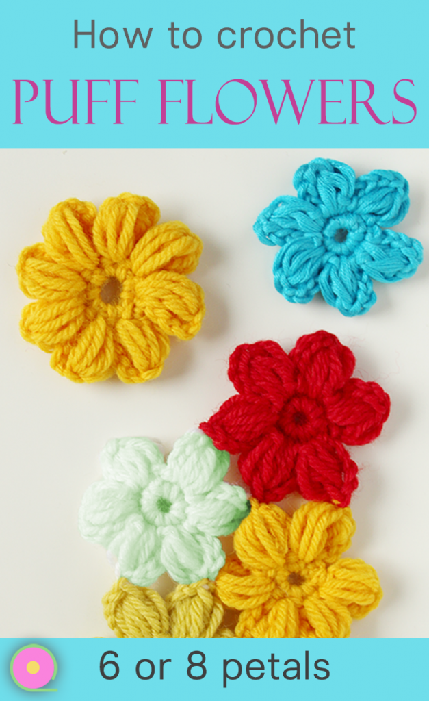 tutorial crochet puff flower