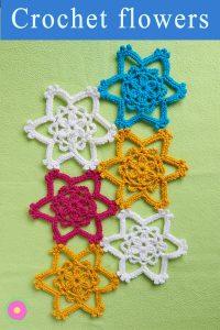 instructions for crocheting flower star motif