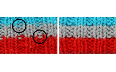 How to knit straight stripes in ribbing