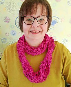 Tuula wearing infinity scarf