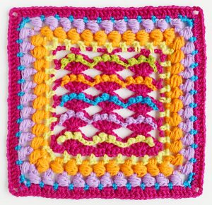 Kalevala sea crochet square colourful
