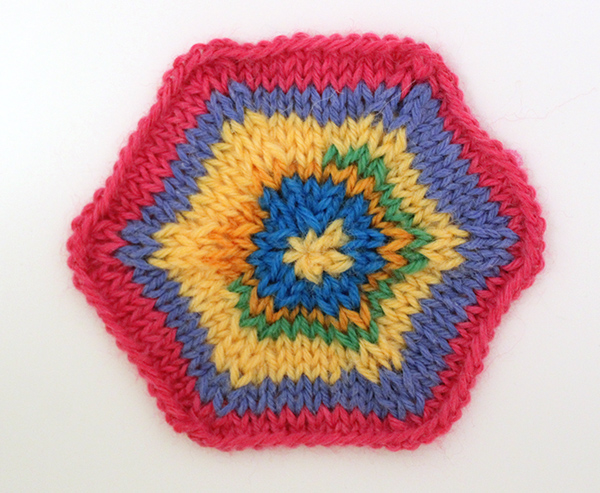 Multicolor knitted hexagon tutorial