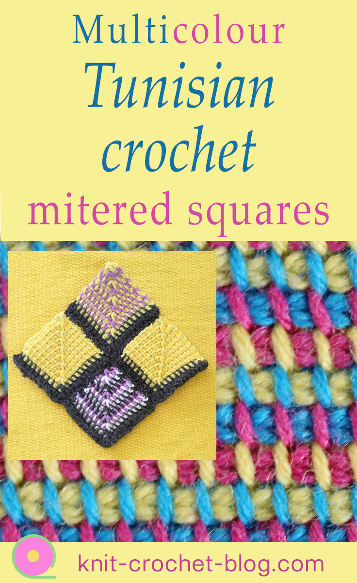 multicolor-tunisian-crochet-mitered-squares