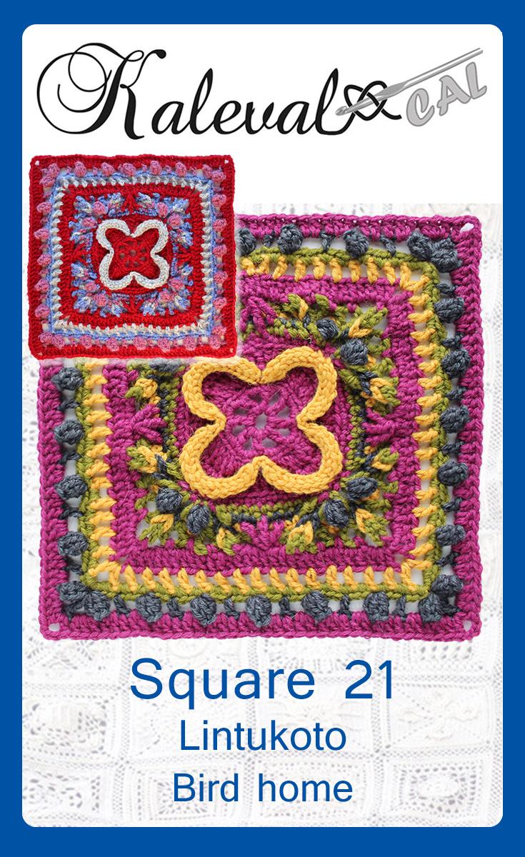 Pinterest image KalevalaCAL Lintukoto crochet square pattern