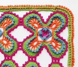 close-up crochet shawl pattern corner