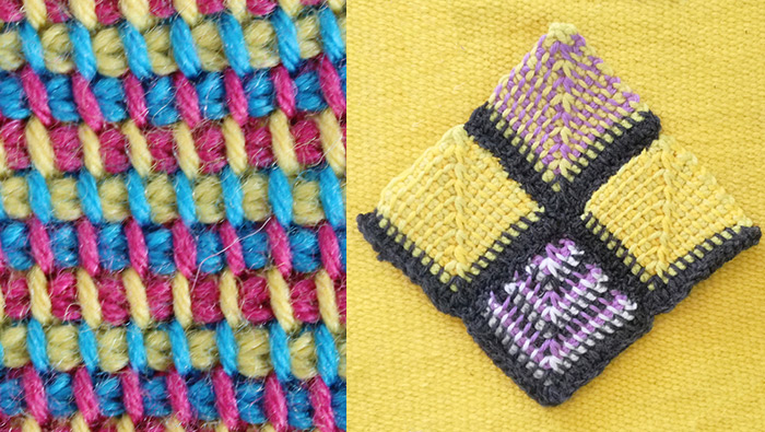 Multicolour Tunisian crochet mitered squares